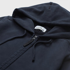 STONE ISLAND LOGO PATCH ZIP UP HOODIE NAVY