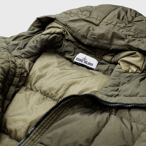 STONE ISLAND HOODED DOWN-QUILTED JACKET MILITARY GREEN