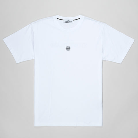 STONE ISLAND REFLECTIVE LOGO-PRINT COTTON T-SHIRT WHITE