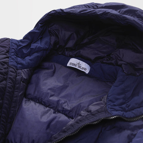 STONE ISLAND HOODED DOWN-QUILTED JACKET BLUE