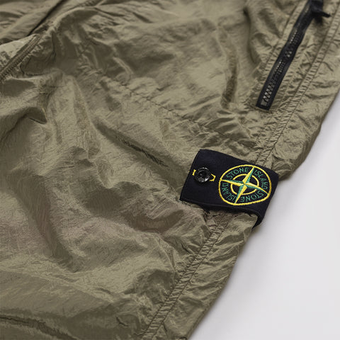 STONE ISLAND LOGO PATCH METAL ZIP CUFF TROUSERS