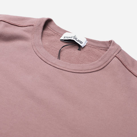 STONE ISLAND LOGO PATCH SWEATSHIRT ROSE QUARTZ