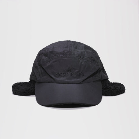 STONE ISLAND COVERED EAR FLAP CAP BLACK