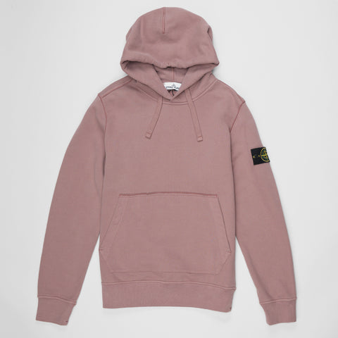 STONE ISLAND LOGO PATCH HOODIE ROSE QUARTZ