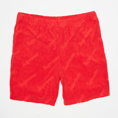 SUPREME TERRY JACQUARED LOGO RED SHORT
