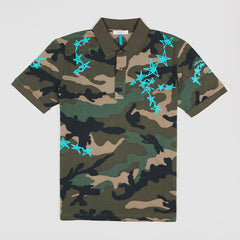 VALENTINO CAMO BLUE STAR POLO