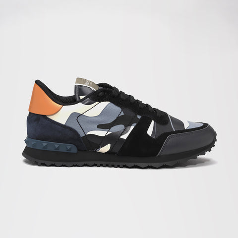 VALENTINO ROCKRUNNER CAMO SNEAKER BLACK/BLUE/ORANGE