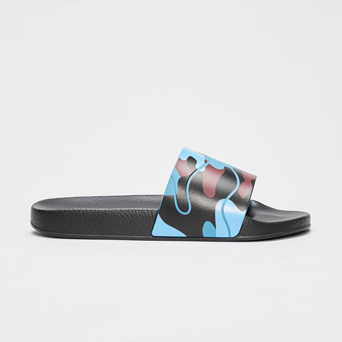 VALENTINO CAMO POOL SLIDES BLACK/BLUE/BURGUNDY
