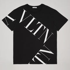 VALENTINO T-SHIRT WITH VLTN MACROGRID BLACK
