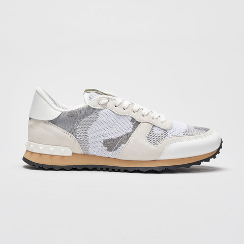VALENTINO CAMO KNITTED ROCKRUNNER WHITE