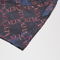 VALENTINO CAMO VLTN SWIM SHORTS NAVY/RED