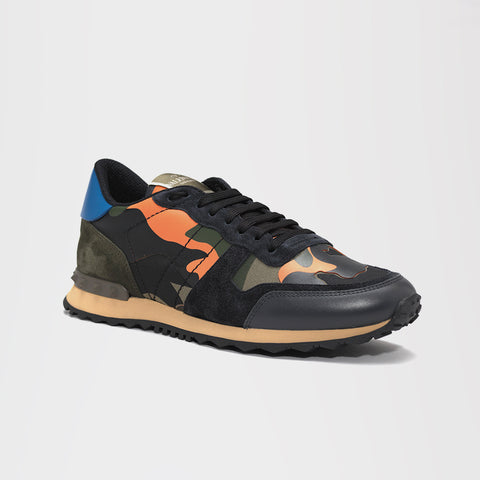 VALENTINO CAMO ROCKRUNNER BLACK/ORANGE/BLUE