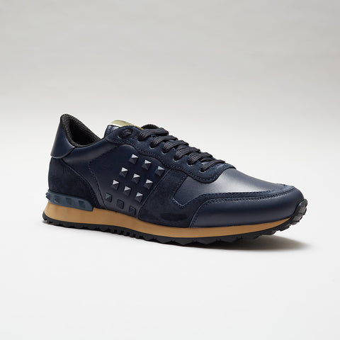 VALENTINO LEATHER ROCKRUNNER BLUE