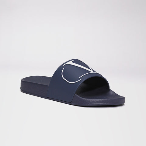 VALENTINO V RUBBER POOL SLIDES BLUE