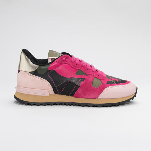 VALENTINO ROCKRUNNER LEATHER AND SUEDE CAMO TRAINERS PINK