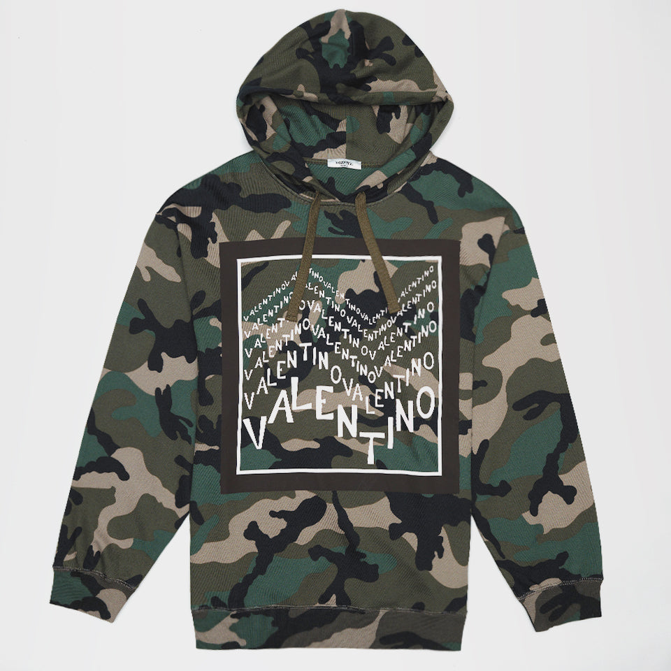 V FOR VALENTINO PRINT HOODED SWEATSHIRT