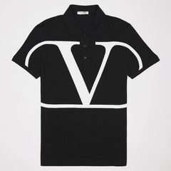 VALENTINO DECONSTRUCTED VLOGO POLO SHIRT BLACK