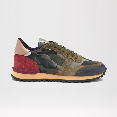 VALENTINO ROCKRUNNER LEATHER AND SUEDE CAMO TRAINERS GREEN/RED