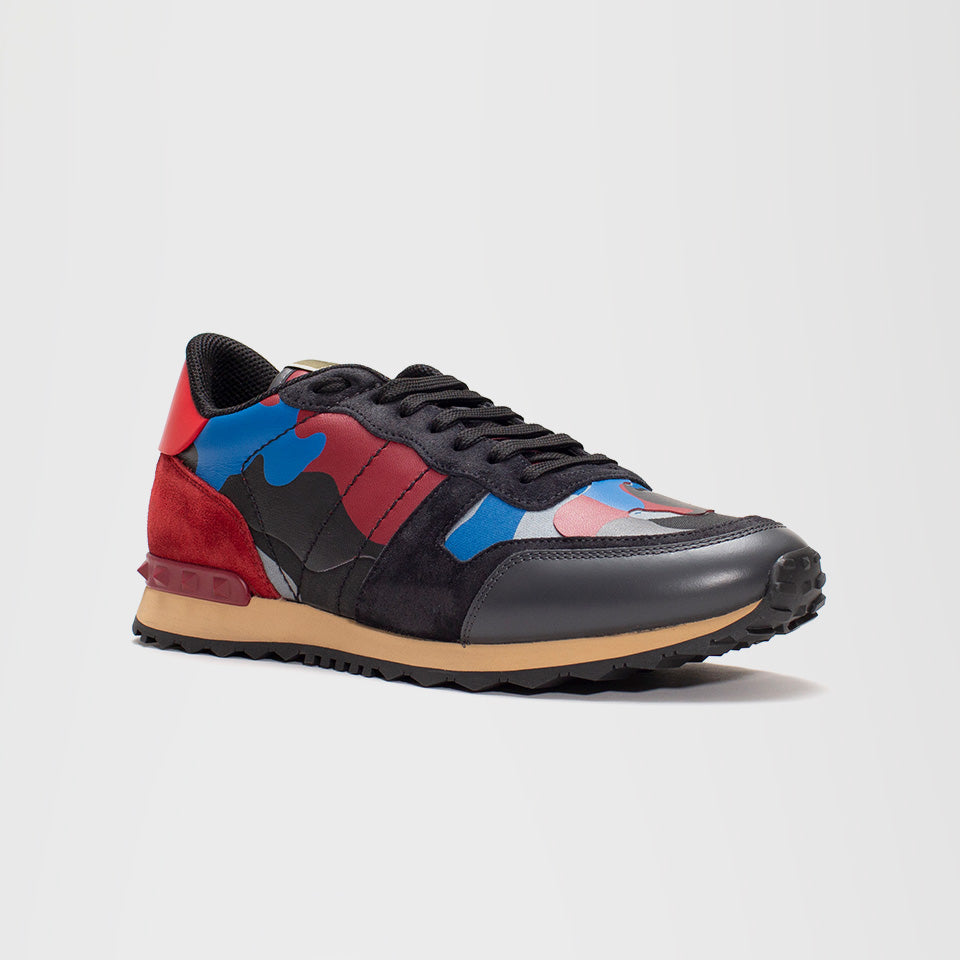 VALENTINO CAMO ROCKRUNNER BLACK/RED/BLUE