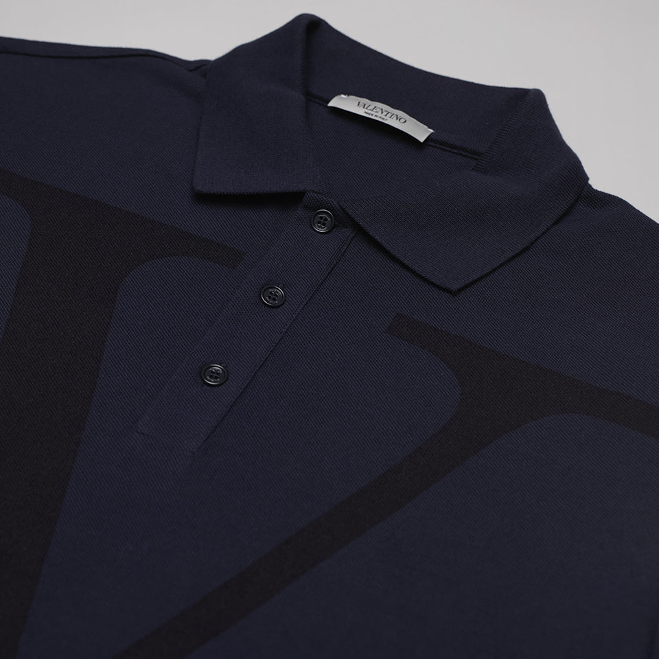 VALENTINO DECONSTRUCTED VLOGO POLO SHIRT BLUE