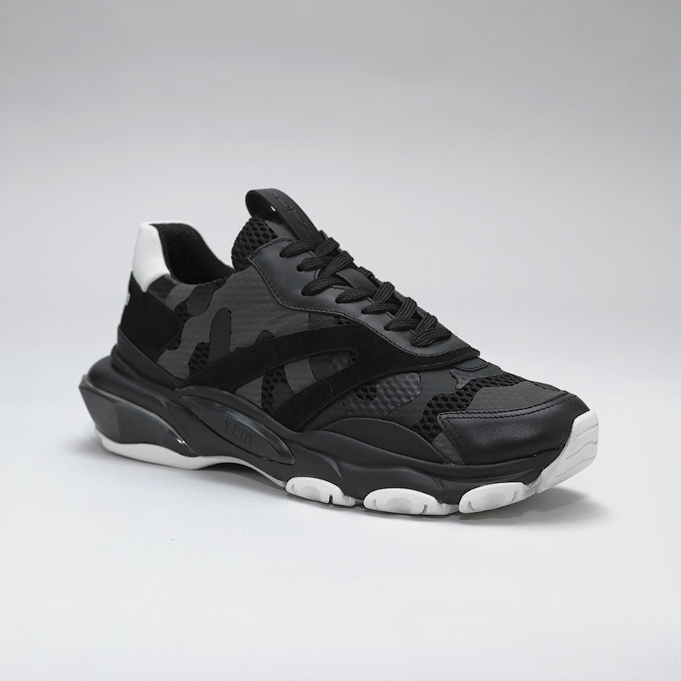 VALENTINO BOUNCE RAISED-SOLE LOW-TOP TRAINERS BLACK CAMO