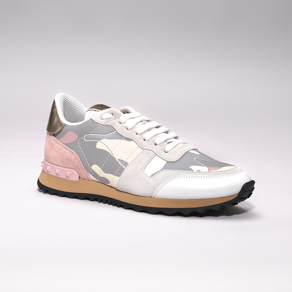 d3e8fb10881c8 VALENTINO ROCKRUNNER LEATHER AND SUEDE CAMO TRAINERS GREY/PINK – Mr ...