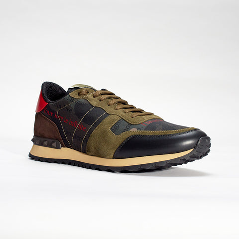 VALENTINO ROCKRUNNER CAMO SNEAKER ARMY GREEN