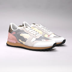 VALENTINO ROCKRUNNER LEATHER AND SUEDE CAMO TRAINERS GREY/PINK
