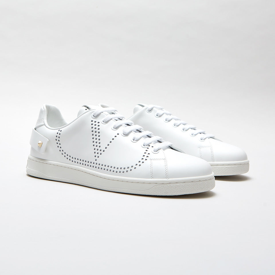 VALENTINO PERFORATED-LOGO LEATHER TRAINERS WHITE