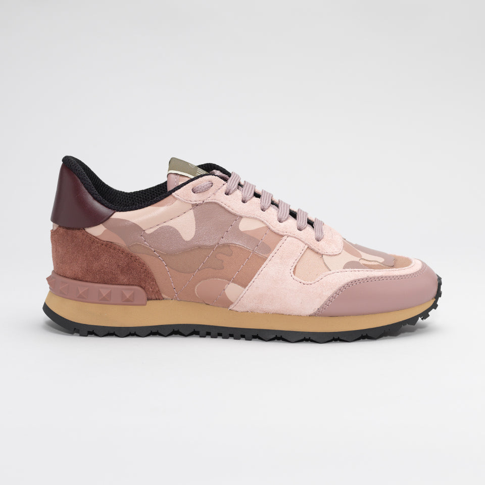 VALENTINO ROCKRUNNER LEATHER AND SUEDE CAMO TRAINERS DUSKY PINK