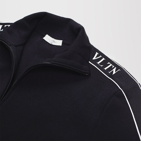 VALENTINO VLTN VISCOSE KNIT ZIP-UP TRACK JACKET BLACK