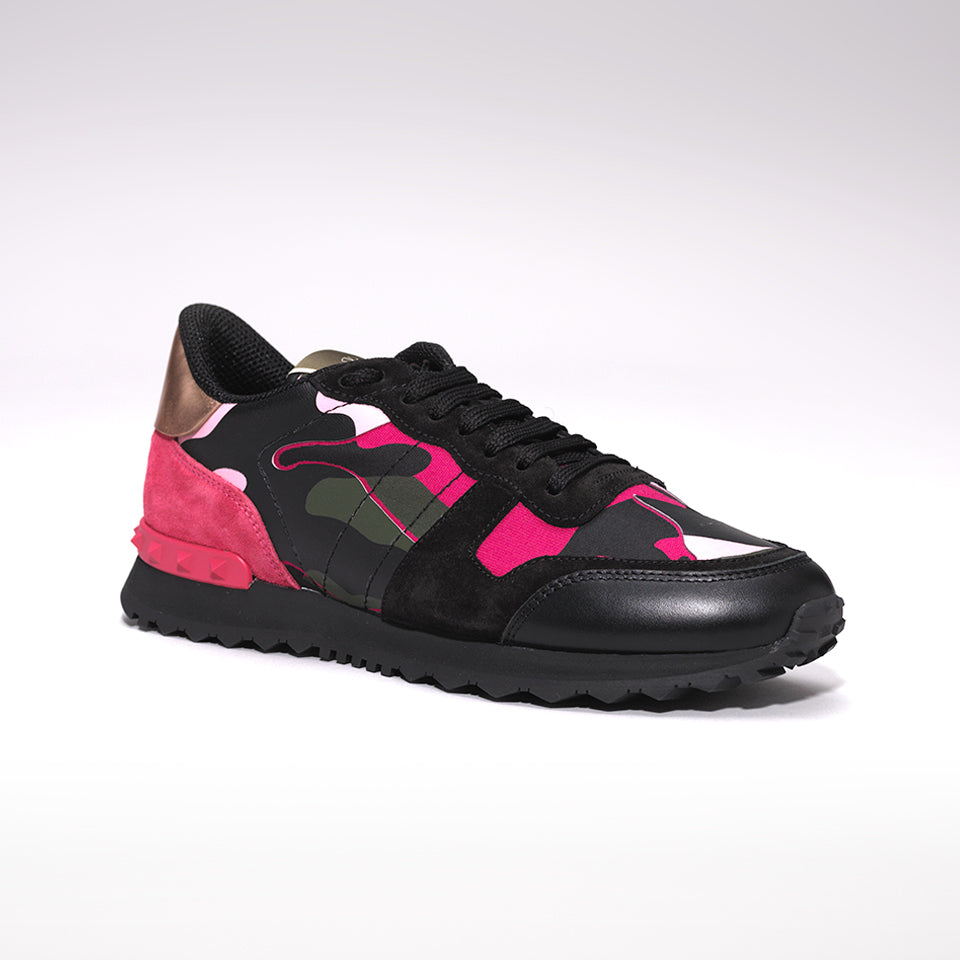 8b25e5ff169eb VALENTINO ROCKRUNNER LEATHER AND SUEDE CAMO TRAINERS BLACK/PINK – Mr ...