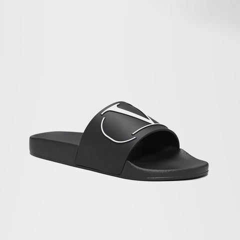 VALENTINO V RUBBER POOL SLIDES BLACK