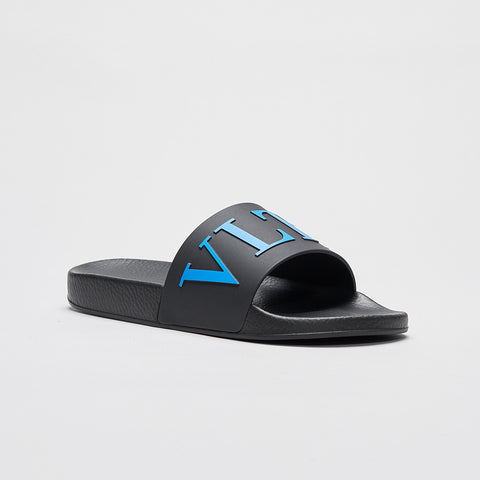 VALENTINO BLUE VLTN POOL SLIDES BLACK