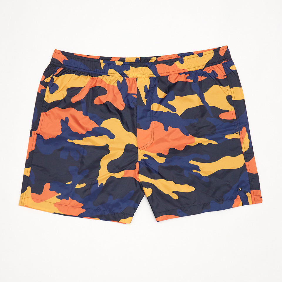 VALENTINO CAMO SWIM SHORTS ORANGE