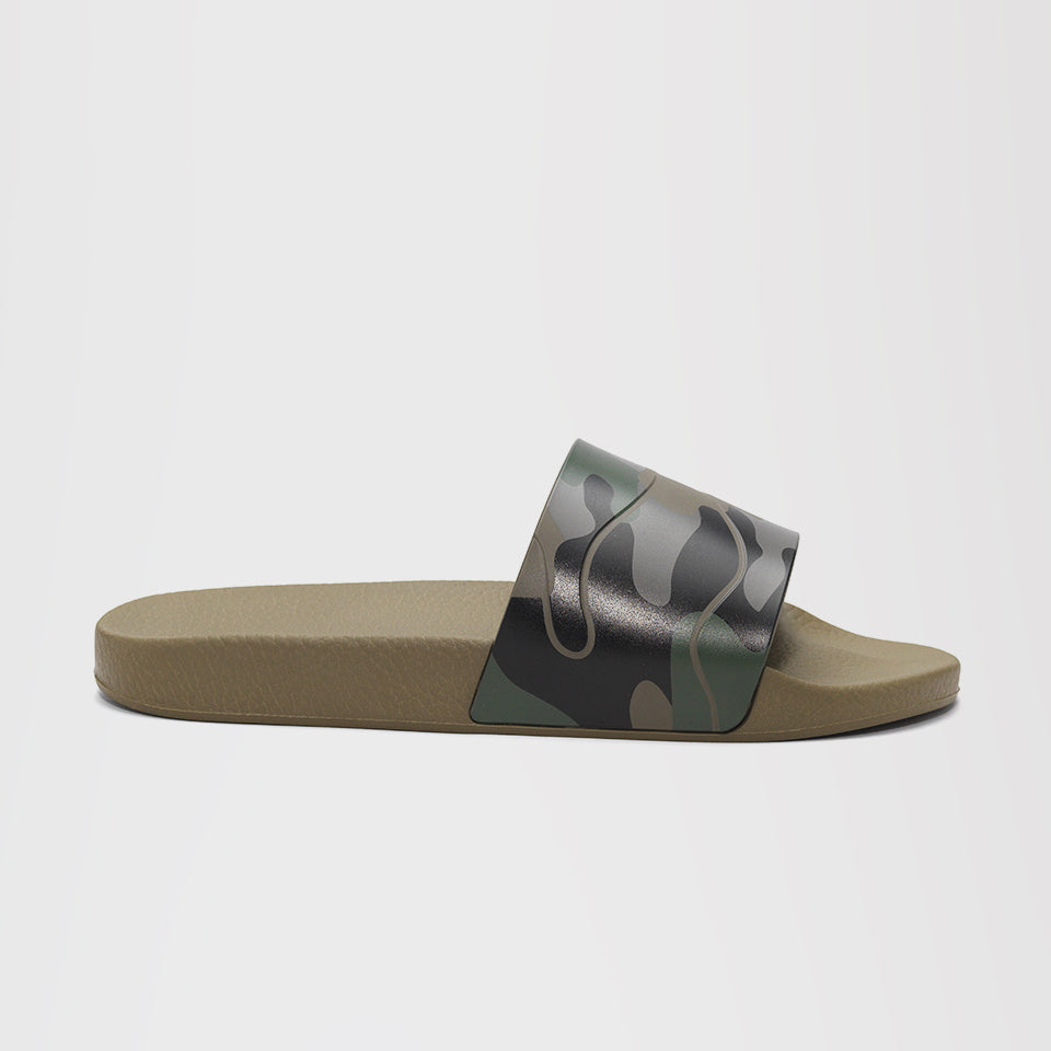 VALENTINO CAMO POOL SLIDES GREEN