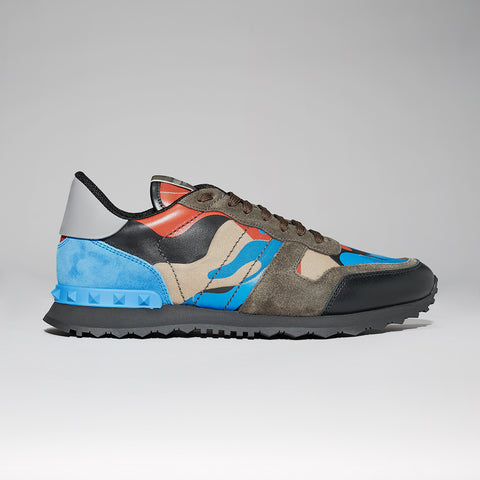 VALENTINO ROCKRUNNER CAMO SNEAKER BLUE/RED/GREY