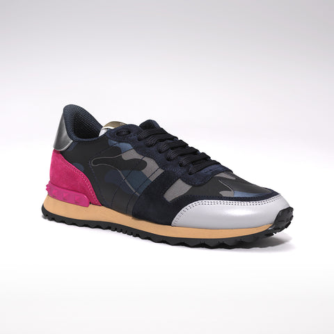 VALENTINO ROCKRUNNER LEATHER AND SUEDE CAMO TRAINERS BLUE/PINK