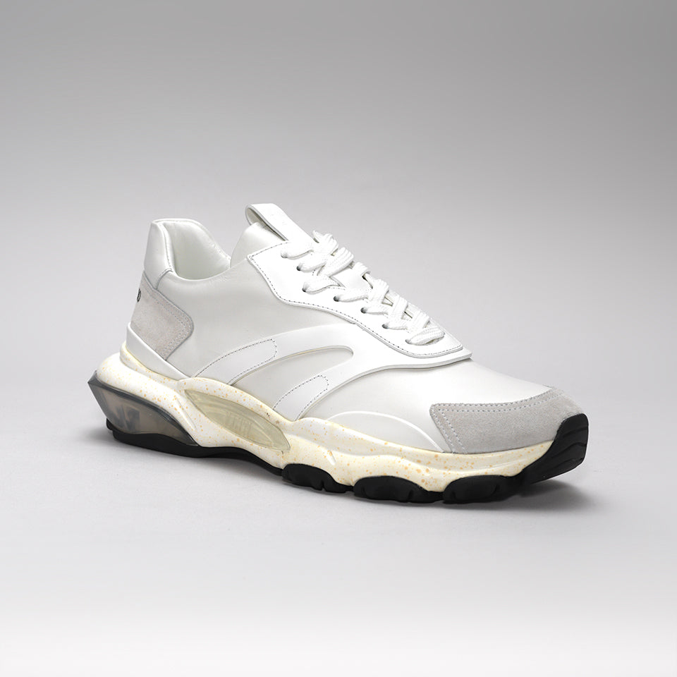 VALENTINO BOUNCE RAISED-SOLE LOW-TOP TRAINERS WHITE