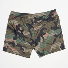 VALENTINO GREEN CAMO TEXT PRINT SWIM SHORTS