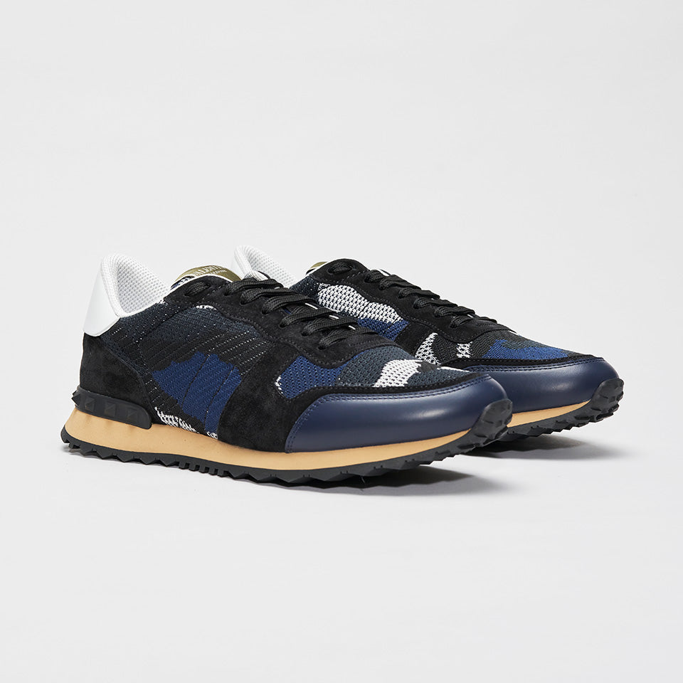 VALENTINO CAMO KNITTED ROCKRUNNER BLUE/BLACK