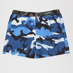 VALENTINO ELASTICATED WAISTBAND CAMOUFLAGE-PRINT SWIM SHORTS BLUE
