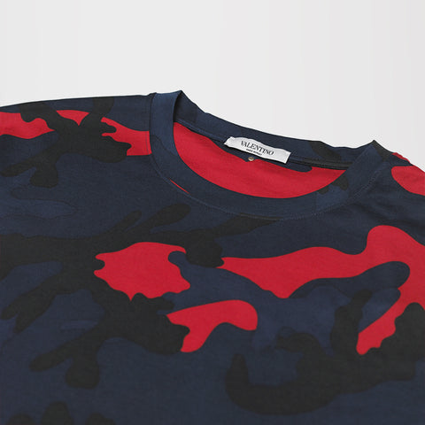 VALENTINO CAMO T-SHIRT BLUE/RED