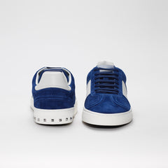 VALENTINO FLYCREW LOW TOP SUEDE TRAINERS BLUE