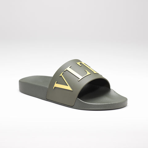 VALENTINO VLTN POOL SLIDES OLIVE-GREEN