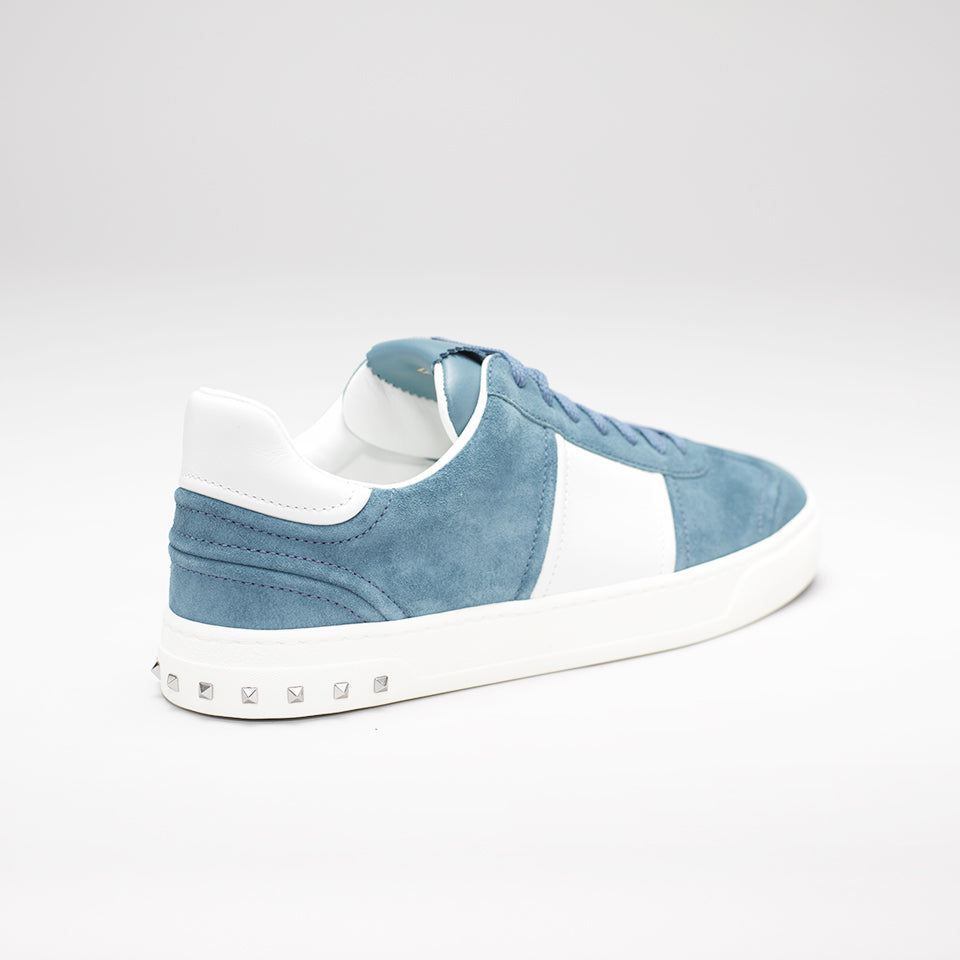 VALENTINO FLY CREW LOW-TOP SUEDE TRAINERS CORNFLOWER-BLUE