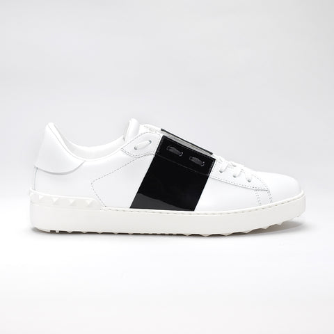 VALENTINO OPEN SNEAKERS WHITE WITH BLACK PATENT