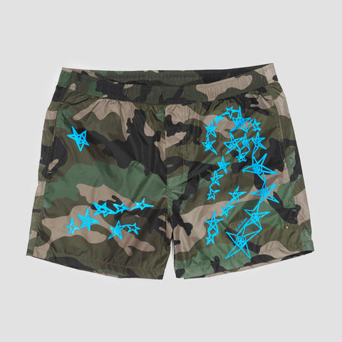 VALENTINO CAMO SHORTS KHAKI-BROWN