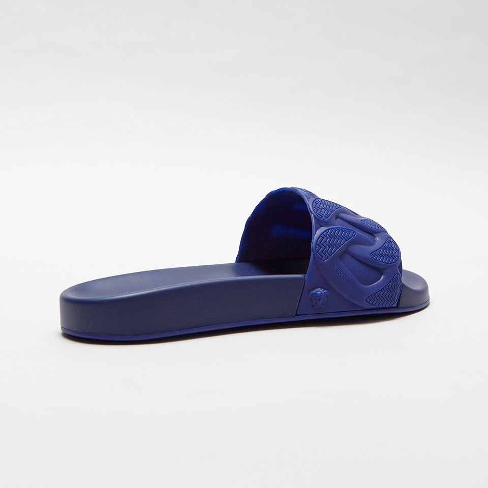 VERSACE CHAIN REACTION POOL SLIDES BLUE