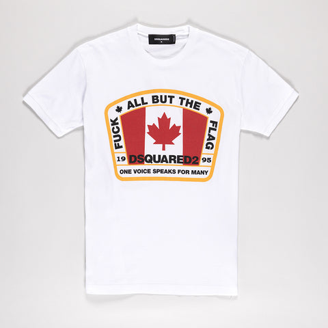 DSQUARED2 CANADIAN FLAG T-SHIRT WHITE